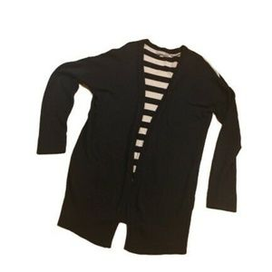 OneA Striped Black & Ivory Striped Cardigan Size L